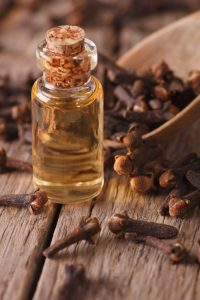 How to Stop Toothache Pain Fast: clove oil in a bottle of glass macro vertical